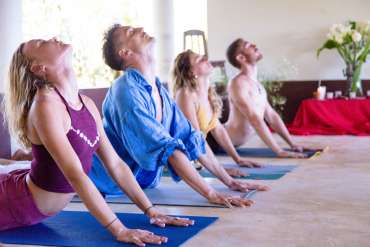 people in cobra pose indoors at Yoga Teacher Training Course 200hr in Mexico