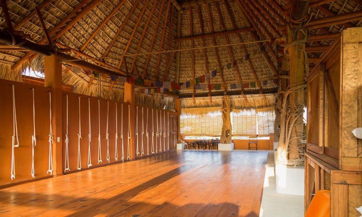 wooden yoga studio in the retreat center