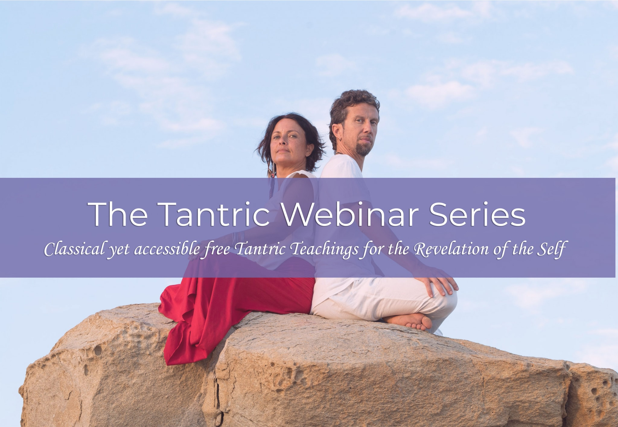 The tantric webinar series Amita and Marco tantra teachers sitting yoga position